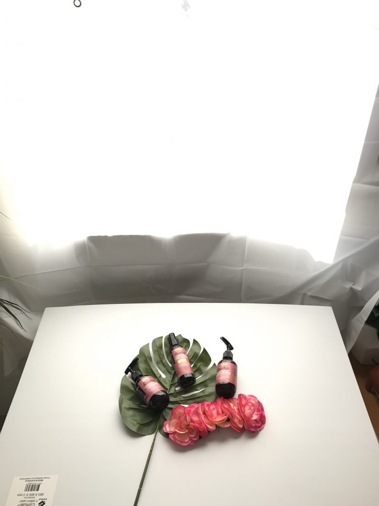 DIY product photography flat lay