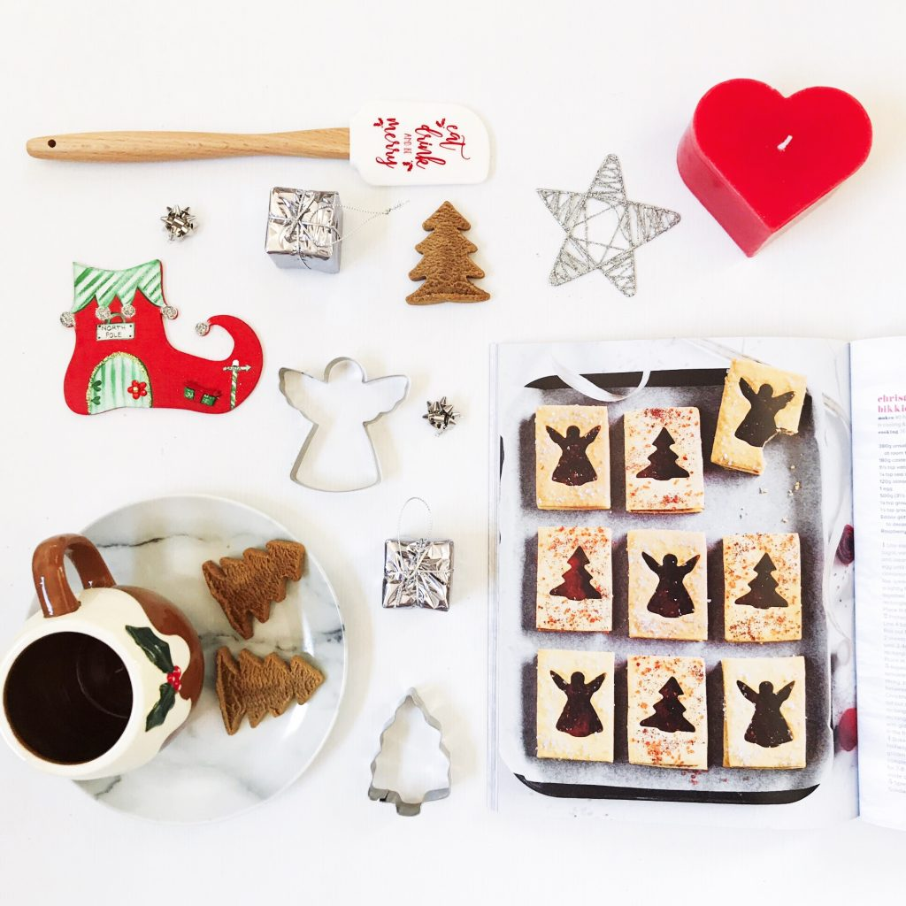 baking inspired christmas flat lay in a grid arrangement
