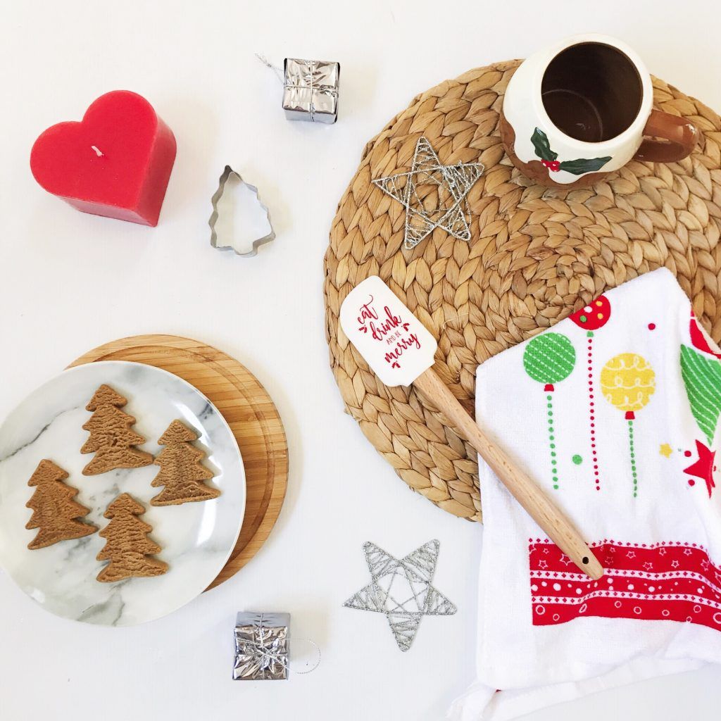 baking inspired christmas flat lay in a lifestyle arrangement